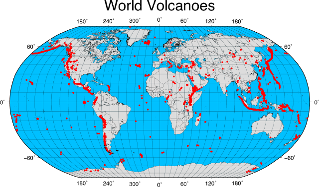 The Geospatial Desktop Creating An Overlay Map With GMT - Map of volcanoes us